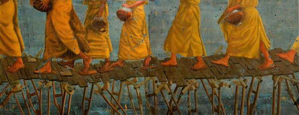 """Bhiksu, acrylic on tarpaulin, 52"""" x 132"""" (diptych), 2011"""