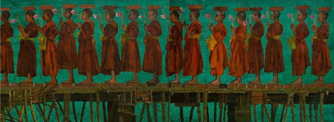 """acrylic on tarpaulin, 40"""" x 132"""", (diptych) 2011"""